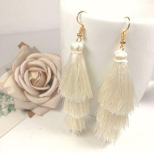 Cream Tiered Tassel Drop Dangle Earrings